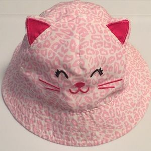 Baby Pink kitty cat cheetah hat 6-18 months